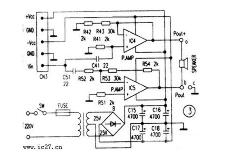 tl084低音炮电路原理图