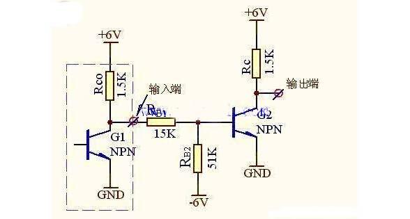三极管反相器的电路图